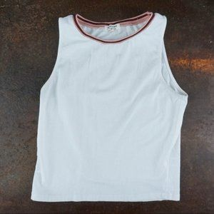 HEARTS & HIPS Sleeveless Muscle Tee Pink Red Trim